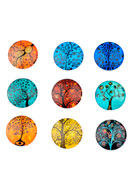 www.sayila.es - Mezcla de piedras adhesivas/cabujones de vidrio redondo con árbol 25mm - D22019