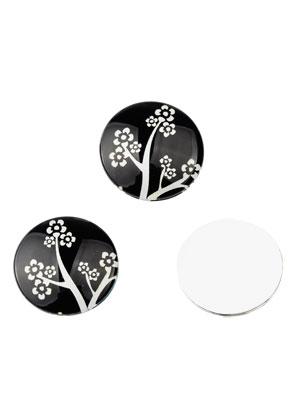 www.sayila.com - Glass flat backs/cabochons round with flowers 30mm