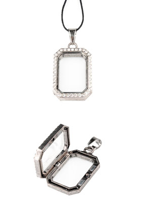 www.sayila.nl - Metalen Floating Charm Locket rechthoek met strass 48x24mm
