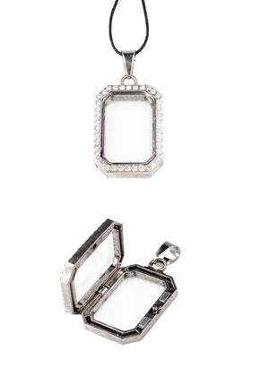 www.sayila.fr - Floating Charm Locket en métal rectangle avec strass 48x24mm