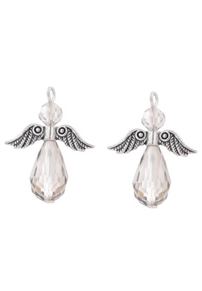 www.sayila.com - Metal and glass pendants/charms angel 29x23mm