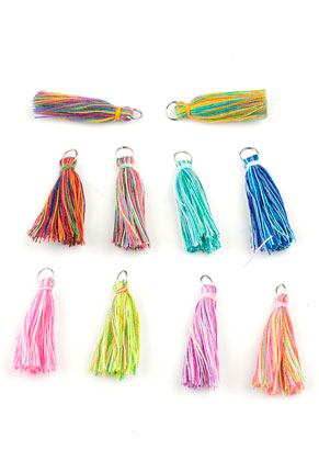 www.sayila.com - Mix textile tassels with jump ring 30x10mm