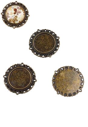 www.sayila.nl - Metalen hangers/tussenzetsels rond 31mm met kastje voor 20mm plaksteen