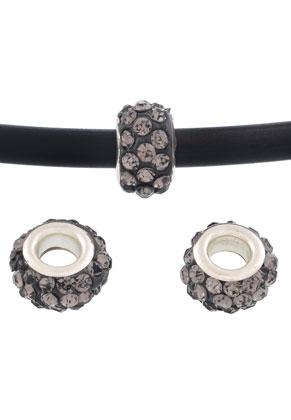www.sayila-perlen.de - Großloch-Still Strass Perlen aus Knete mit Strass Rondelle 13x7mm