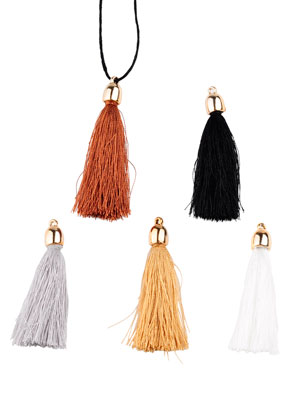 www.sayila.com - Mix textile tassels with cap 55x8mm