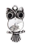 www.sayila.co.uk - Metal pendant owl with strass 34x17mm - D22474