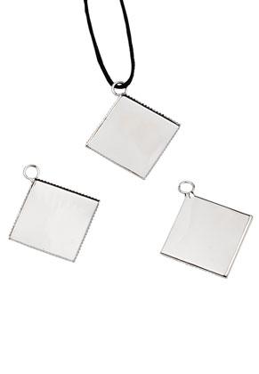 www.sayila.nl - Metalen hangers vierkant 41x36mm met kastje voor 25mm plaksteen