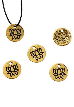 www.sayila.com - Metal pendants/charms round with lotus 8mm