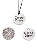 www.sayila.com - Metal pendants/charms round with text Carpe Diem 12mm - D22640