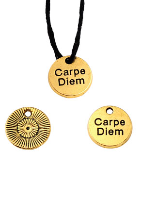 www.sayila.com - Metal pendants/charms round with text Carpe Diem 12mm