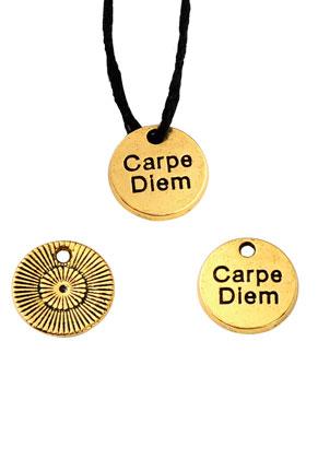 www.sayila.nl - Metalen hangers/bedels rond met tekst Carpe Diem 12mm