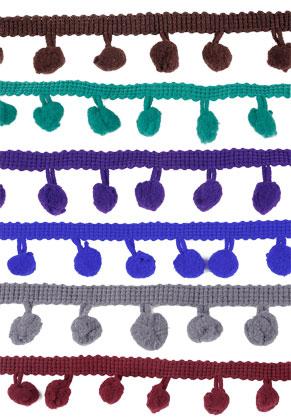 www.sayila.fr - Mélange de bande décorative en textile avec pompons 100cm