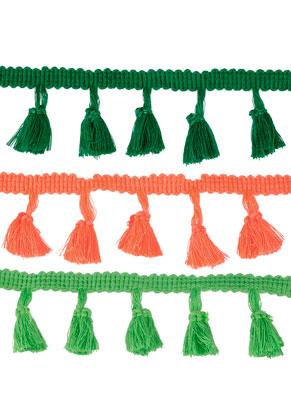 www.sayila.fr - Mélange de bande en textile avec pompons 40-90cm, largeur 35mm