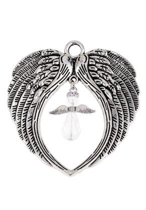 www.sayila-perlen.de - Metall Anhänger Flügel mit Engel 73x68mm