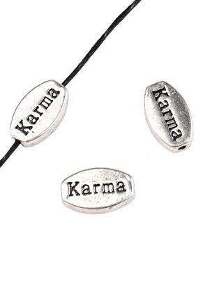 www.sayila.es - Abalorios de metal, ovale, con texto Karma 13x8mm