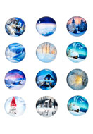 www.sayila.com - Mix glass flat backs/cabochons round winter 18mm - D23109