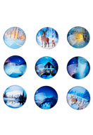 www.sayila-perlen.de - Mix Glas Klebsteine/Cabochons rund Winter 25mm - D23110