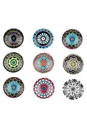 www.sayila.com - Mix glass flat backs/cabochons round with mandala print 18mm