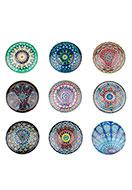 www.sayila.be - Mix glas plakstenen/cabochons rond met mandala print 30mm - D23242