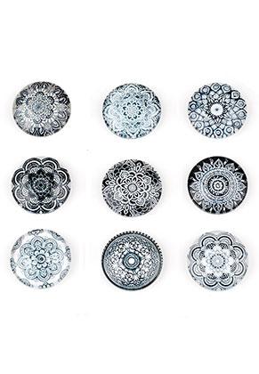 www.sayila.nl - Mix glas plakstenen/cabochons rond met mandala print 16mm