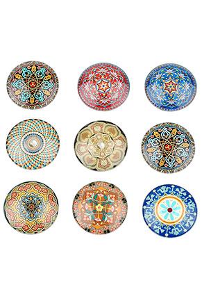 www.sayila.nl - Mix glas plakstenen/cabochons rond met mandala print 25mm