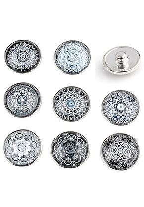 www.sayila.fr - Mélange de boutons-pression DoubleBeads EasyButton avec imprimé mandala mesure L