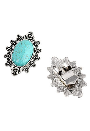 www.sayila.com - Metal bolo tie slide clasp with natural stone Turquoise Howlite 53x38mm