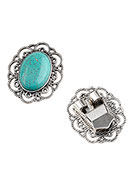 www.sayila.com - Metal bolo tie slide clasp with natural stone Imitation Turquoise 41x35mm - D23464