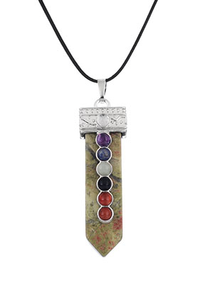 www.sayila.es - Colgante Rainbow Chakra de piedras naturales 60x16mm