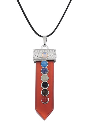 www.sayila.com - Natural stone Rainbow Chakra pendant 60x16mm