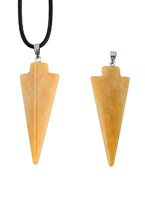 www.sayila.fr - Pendentif en pierre naturelle Yellow Jade tête de flèche 48-55x18mm