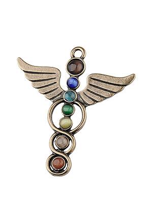 www.sayila-perlen.de - Metall Rainbow Chakra Anhänger Engel mit Cateye 51x46mm
