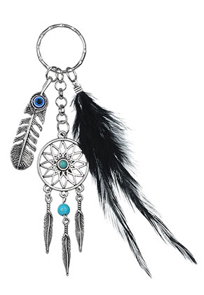 www.sayila.com - Dreamcatcher key fob with feather