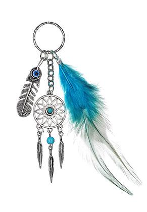 www.sayila.com - Dreamcatcher key fob with feather