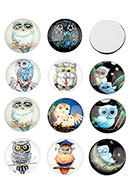 www.sayila.com - Mix glass flat backs/cabochons round with owl 18mm - D23764