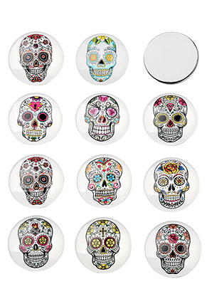 www.sayila.com - Mix glass flat backs/cabochons round with Día de Muertos skull 25mm