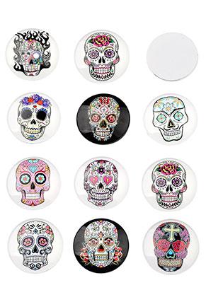 www.sayila.nl - Mix glas plakstenen/cabochons rond met Día de Muertos doodshoofd/schedel 30mm