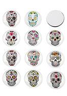 www.sayila.nl - Mix glas plakstenen/cabochons rond met Día de Muertos doodshoofd/schedel 30mm - D23785