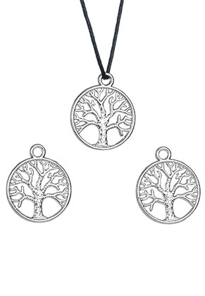 www.sayila.com - Metal pendants/charms round with tree 24x20mm