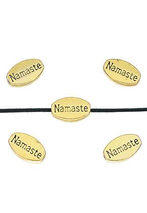 www.sayila.nl - Metalen kralen ovaal met tekst Namaste 13x8mm