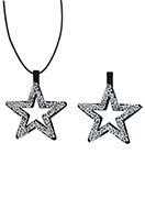www.sayila.com - Imitation suede pendant with strass star 57x47mm - D23992