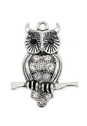 www.sayila.fr - Pendentif en métal hibou avec strass 40x30mm