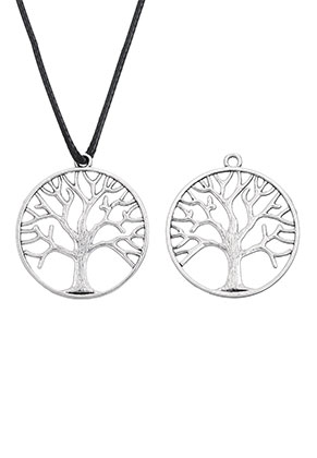 www.sayila.com - Metal pendants round with tree 38x34mm