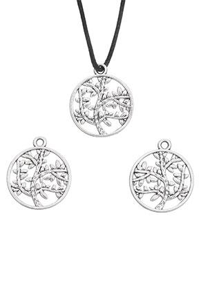 www.sayila.fr - Pendentifs/breloques en métal circulaire avec arbre 24x20mm