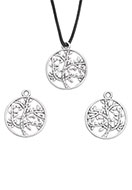 www.sayila.com - Metal pendants/charms round with tree 24x20mm - D24094