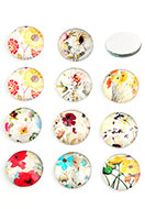 www.sayila.com - Mix glass flat backs/cabochons round with flowers 18mm - D24218