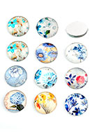 www.sayila.com - Mix glass flat backs/cabochons round with flowers 18mm - D24223