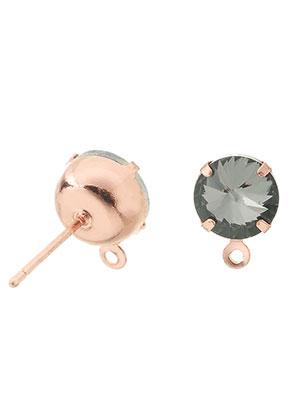www.sayila.nl - Brass oorstekers met oogje en strass 18x11x8mm