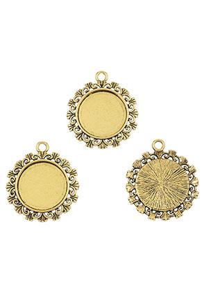 www.sayila.com - Metal pendants round 34x30mm with setting for 20mm flatback