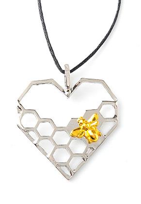 www.sayila.nl - Metalen hanger hart met honingraat 40x35mm